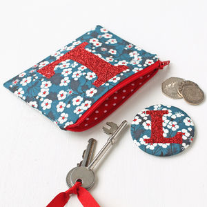Liberty Glitter Initial Purse And Mirror - bags, purses & wallets