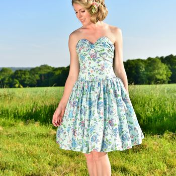 Floral Bow Detail Corseted Bridesmaid Dress