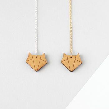 Wooden Origami Fox Necklace