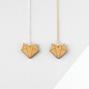 Wooden Origami Fox Necklace - women's jewellery