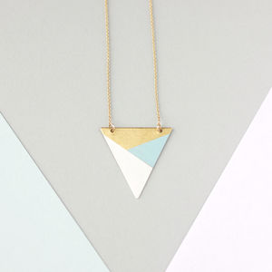 Metal Three Colour Triangle Necklace - women's jewellery