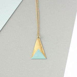 Long Brass Triangle Necklace - simple shapes