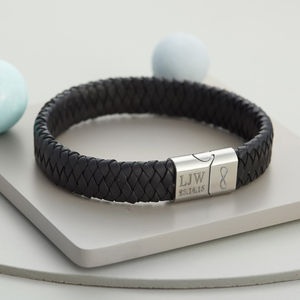 Men's Personalised Infinity Steel And Leather Bracelet