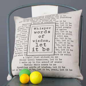 Personalised Lyrics Cushion Cover - 50 less ordinary ideas