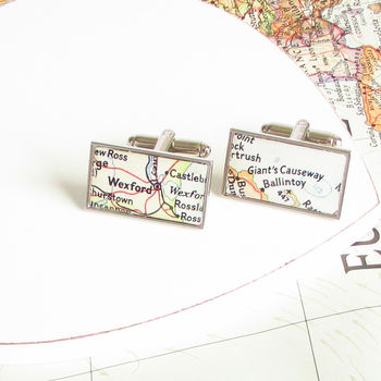 Personalised Map Location Rectangle Cufflinks