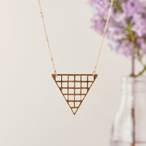 Extra Long Gold Necklace With Triangle Pendant - necklaces & pendants