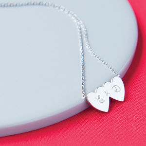Personalised Double Heart Chain Necklace