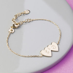 Personalised Double Heart Chain Bracelet