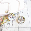 Sterling Silver Personalised Map Necklace
