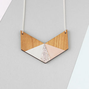 Three Colour Glitter Wooden Chevron Necklace - jewellery sale