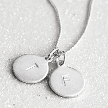 Sterling Silver Tiny Stamped Initial Charm Necklace