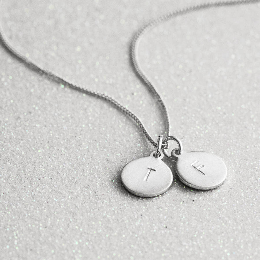 necklace product pendant rn hand stamped personalized registered initial silver dime charm sterling nurse