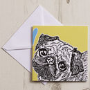 Pug Love Greeting Card Chartreuse