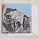 Pug Love Greeting Card Teal