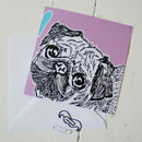Pug Love Greeting Card Purple