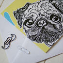Pug Love Greeting Card Chartreuse Detail
