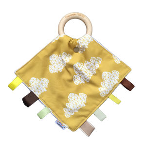 Personalised Geometric Mustard Cloud Tag And Teethe - teethers