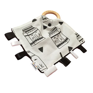 Personalised Monochrome Milk Tag And Teethe - baby care