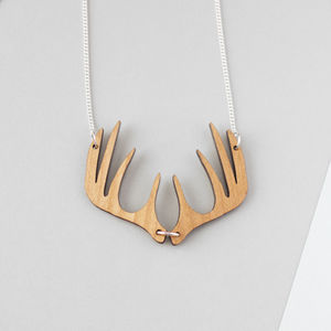 Wooden Stag Antler Necklace - women's jewellery