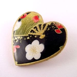 Blossom And Fan Washi Paper Heart Brooch