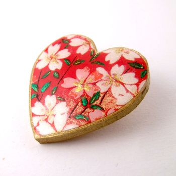 Lucky Blossoms Washi Paper Heart Brooch