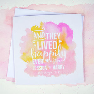 Personalised 'Happily Ever After' Ombre Wedding Card