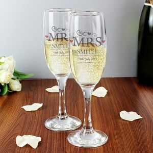 Mrs And Mrs Pair Of Personalised Wedding Flutes