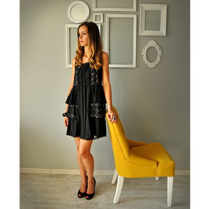 Black Chiffon Lace Dress - women's fashion