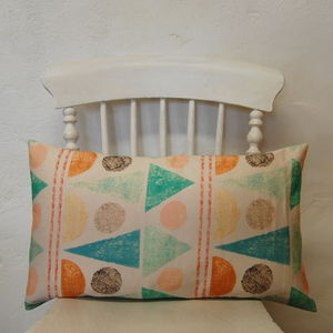 Small Rectangle Summer Fair Turquoise Cushion