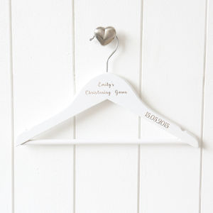 Engraved Children's White Wooden Hanger