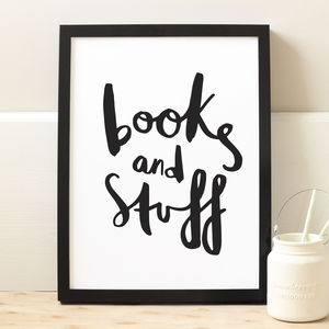 Books And Stuff Typography Print - book-lover