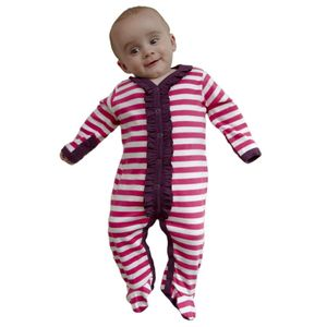Organic Pink Striped Footed Romper - clothing