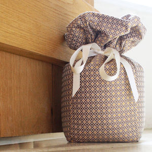 Brown And Gold Silk Doorstop
