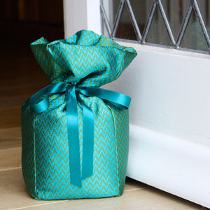 Green And Turquoise Silk Doorstop - office & study