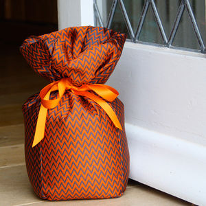 Orange And Grey Silk Doorstop - office & study