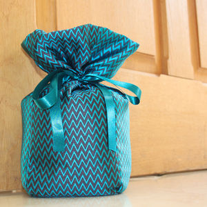 Turquoise And Grey Silk Doorstop - office & study