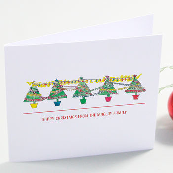 Row Of Festive Trees Christmas Cards