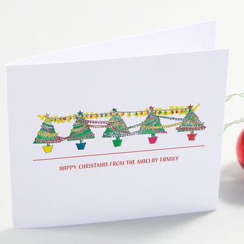 Row Of Festive Trees Christmas Cards