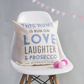 Personalised This Home Is Run On Cushion - black friday sale