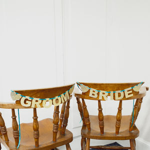 Glitter 'Bride' And 'Groom' Bunting - table decorations