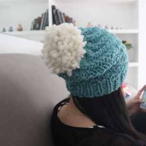 Women's Merino Pom Hat, Winter Beanie - women's accessories