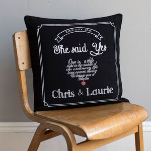Personalised 'She Said Yes' Engagement Cushion Cover - engagement gifts