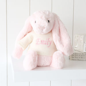 Personalised Pink Bashful Bunny - for babies