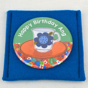 Personalised Vintage Coffee Cup Pocket Mirror