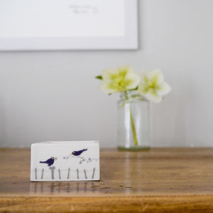 Blackbird Ceramic Tealight Holder - candles & candlesticks