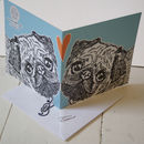 Pug Love Greeting Card Teal Detail