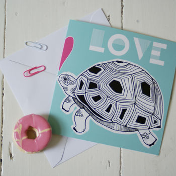 Tortoise In Love Aqua Greeting Card Detail
