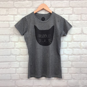 Women's 'Meow' Cat Face Printed T Shirt - tops & t-shirts