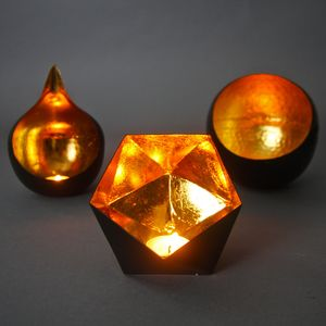 Hexagon Gold Tealight Holder