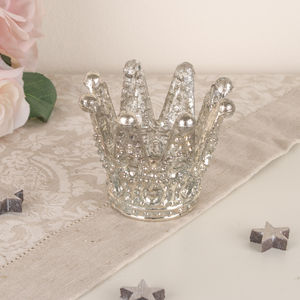Tempered Glass Platinum Sheen Crown Tea Light Holder - occasional supplies